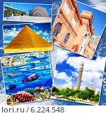 Купить «Египетский коллаж на фоне моря», фото № 6224548, снято 23 июля 2019 г. (c) Vitas / Фотобанк Лори