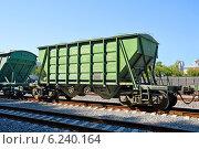 Купить «Железнодорожный вагон-хоппер для перевозки цемента», фото № 6240164, снято 16 июля 2014 г. (c) Александр Замараев / Фотобанк Лори