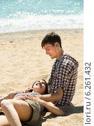 Купить «girl is lying on the lap of a young man», фото № 6261432, снято 15 мая 2014 г. (c) Яков Филимонов / Фотобанк Лори