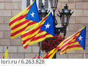 Few flying Catalonia flags. Стоковое фото, фотограф Яков Филимонов / Фотобанк Лори
