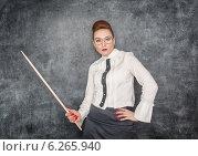 Купить «Строгая учительница с указкой», фото № 6265940, снято 26 января 2014 г. (c) Darkbird77 / Фотобанк Лори