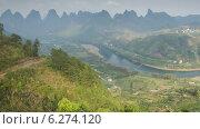 Купить «Река среди карстовых холмов, Китай, таймлапс», видеоролик № 6274120, снято 6 августа 2014 г. (c) Кирилл Трифонов / Фотобанк Лори