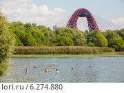 Люди купаются в Серебряном бору (2014 год). Редакционное фото, фотограф Михаил Грушин / Фотобанк Лори