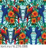 Бесшовный фон с попугаями ара и цветами. Стоковая иллюстрация, иллюстратор Irene Shumay / Фотобанк Лори