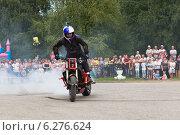 Купить «Агрессивное вождение мотоцикла Алексеем Калининым», фото № 6276624, снято 9 августа 2014 г. (c) Николай Мухорин / Фотобанк Лори