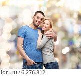 Купить «smiling couple hugging», фото № 6276812, снято 9 февраля 2014 г. (c) Syda Productions / Фотобанк Лори