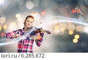 Купить «Girl with violin», фото № 6285672, снято 17 ноября 2019 г. (c) Sergey Nivens / Фотобанк Лори