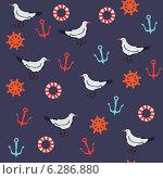 Бесшовный фон с чайками, якорями и спасательными кругами. Стоковая иллюстрация, иллюстратор Irene Shumay / Фотобанк Лори