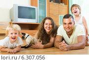 Купить «Family of four playing with kitten», фото № 6307056, снято 19 июля 2014 г. (c) Яков Филимонов / Фотобанк Лори