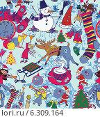 Бесшовный фон с новогодними и рождественскими атрибутами. Стоковая иллюстрация, иллюстратор Irene Shumay / Фотобанк Лори