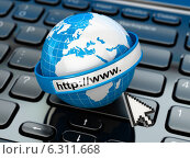 Купить «Browser. Internet concept.. Earth on laptop keyboard.», фото № 6311668, снято 8 января 2020 г. (c) Maksym Yemelyanov / Фотобанк Лори