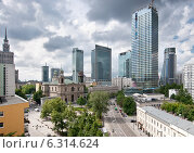 Купить «Panoramic view of Warsaw city center», фото № 6314624, снято 23 января 2019 г. (c) BE&W Photo / Фотобанк Лори