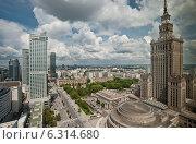 Купить «Panoramic view of Warsaw city center», фото № 6314680, снято 19 июня 2019 г. (c) BE&W Photo / Фотобанк Лори
