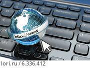 Browser. Internet concept.. Earth on laptop keyboard. Стоковое фото, фотограф Maksym Yemelyanov / Фотобанк Лори
