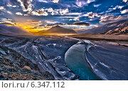 Закат в долине Нубра. Стоковое фото, фотограф Сергей Васильев / Фотобанк Лори
