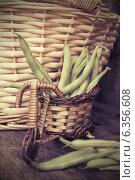 Купить «Стручковая фасоль на старом деревянном столе», фото № 6356608, снято 13 июля 2013 г. (c) Елена Вяселева / Фотобанк Лори