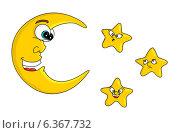 Луна и звезды. Стоковая иллюстрация, иллюстратор Надежда Хорошилова / Фотобанк Лори