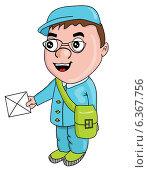 Почтальон. Стоковая иллюстрация, иллюстратор Надежда Хорошилова / Фотобанк Лори