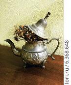 Сухой букет в старинном серебряном кофейнике. Стоковое фото, фотограф masebora / Фотобанк Лори