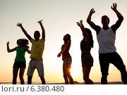 Купить «smiling friends dancing on summer beach», фото № 6380480, снято 3 августа 2014 г. (c) Syda Productions / Фотобанк Лори
