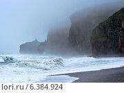 Купить «Шторм на обрывистом скалистом побережье Японского моря», фото № 6384924, снято 4 сентября 2014 г. (c) Владимир Серебрянский / Фотобанк Лори
