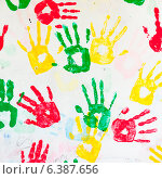 Купить «Close-up of colorful hand prints on a wall, Guatemala City, Guatemala», фото № 6387656, снято 23 июля 2019 г. (c) Ingram Publishing / Фотобанк Лори