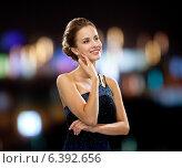 Купить «smiling woman in evening dress», фото № 6392656, снято 1 июня 2014 г. (c) Syda Productions / Фотобанк Лори