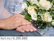 Обручальные кольца на руках молодожен. Стоковое фото, фотограф Юлия Костюшина / Фотобанк Лори