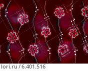 Стеклянная плитка на бордово-сиреневом цветочном узоре. Редакционная иллюстрация, иллюстратор Екатерина Кацэ / Фотобанк Лори
