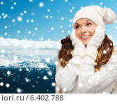 Купить «smiling young woman in white winter clothes», фото № 6402788, снято 22 сентября 2013 г. (c) Syda Productions / Фотобанк Лори