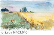 Купить «Летний пейзаж солнечным утром. Акварель», иллюстрация № 6403040 (c) Julia Shepeleva / Фотобанк Лори