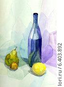 Купить «Натюрморт со стеклянной бутылкой и фруктами на голубой ткани, акварель», иллюстрация № 6403892 (c) Ирина Иванова / Фотобанк Лори