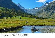 Купить «Долина в Кавказских горах ранним утром», фото № 6413608, снято 13 сентября 2014 г. (c) александр жарников / Фотобанк Лори