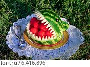 Купить «Десерт из арбуза в виде акулы. Карвинг», эксклюзивное фото № 6416896, снято 3 сентября 2014 г. (c) Blekcat / Фотобанк Лори