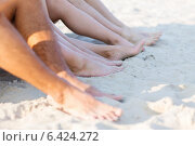 Купить «close up of friends sitting on summer beach», фото № 6424272, снято 3 августа 2014 г. (c) Syda Productions / Фотобанк Лори