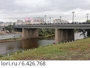Купить «Комсомольский мост через реку Омь, Омск», эксклюзивное фото № 6426768, снято 9 сентября 2014 г. (c) Алексей Гусев / Фотобанк Лори