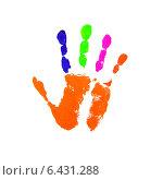Купить «Яркий отпечаток руки на белом фоне», иллюстрация № 6431288 (c) Константин Орлов / Фотобанк Лори