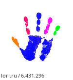 Купить «Цветной отпечаток руки на белом фоне», иллюстрация № 6431296 (c) Константин Орлов / Фотобанк Лори
