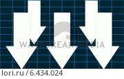 Купить «Arrows pointing down against grid background», видеоролик № 6434024, снято 20 июля 2019 г. (c) Wavebreak Media / Фотобанк Лори
