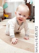 Купить «Six month old baby on the carpet», фото № 6435972, снято 16 сентября 2014 г. (c) Владимир Мельников / Фотобанк Лори