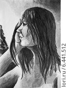 Купить «Рисунок тушью. Девушка с мокрыми волосами», иллюстрация № 6441512 (c) Олег Хархан / Фотобанк Лори