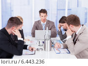 Купить «Tired Business People In Conference Meeting», фото № 6443236, снято 1 июня 2014 г. (c) Андрей Попов / Фотобанк Лори