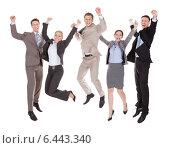 Купить «Excited Business People Jumping Over White Background», фото № 6443340, снято 1 июня 2014 г. (c) Андрей Попов / Фотобанк Лори
