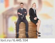 Купить «Business People Sitting On Stacked Coins», фото № 6445104, снято 22 марта 2014 г. (c) Андрей Попов / Фотобанк Лори
