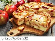 Купить «Шарлотка с яблоками и красные яблоки на разделочной доске», фото № 6452532, снято 6 сентября 2014 г. (c) Надежда Мишкова / Фотобанк Лори