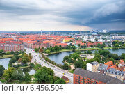 Купить «The bird's eye view from the Church of Our Saviour on the storm over Copenhagen.», фото № 6456504, снято 22 августа 2014 г. (c) Serg Zastavkin / Фотобанк Лори