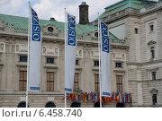 Купить «Флагшток у офиса ОБСЕ. Вена. Австрия.», фото № 6458740, снято 24 июля 2014 г. (c) Виктор Филиппович Погонцев / Фотобанк Лори