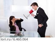 Купить «Businessman Scolding Businesswoman», фото № 6460064, снято 9 марта 2014 г. (c) Андрей Попов / Фотобанк Лори