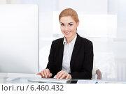 Купить «Businesswoman Using Computer», фото № 6460432, снято 11 января 2014 г. (c) Андрей Попов / Фотобанк Лори