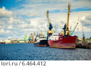 Купить «Грузовые суда в порту Клайпеда», фото № 6464412, снято 26 августа 2014 г. (c) Анна Лурье / Фотобанк Лори